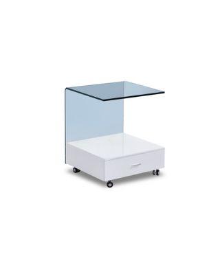Журнальный стол с ящиком Моррис 50*48 стеклянный