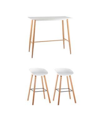 Обеденная группа стол барный DSW белый, 2 барных стула LIBRA белый