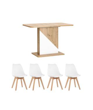 Обеденная группа стол Accent дуб/белый, стулья Frankfurt белые