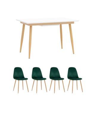 Обеденная группа стол Стокгольм 120-160*80, 4 стула Валенсия велюр темно-зеленый