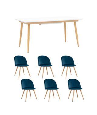 Обеденная группа стол Стокгольм 160-220*90, 6 cтульев Лион велюр голубой