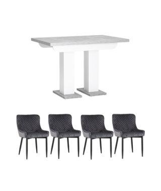 Обеденная группа стол Clyde бетон/белый, стулья Ститч серые