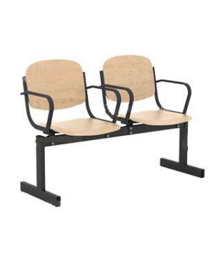 Кресло 2-местное, не откидывающиеся сиденья, с подлокотниками