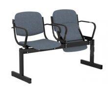Кресло 2-местное, откидывающиеся сиденья, мягкий, с подлокотниками