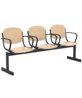 Кресло 3-местное, не откидывающиеся сиденья, с подлокотниками