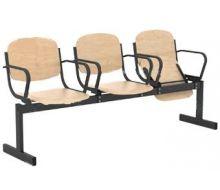 Кресло 3-местное, откидывающиеся сиденья, с подлокотниками