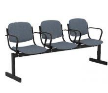 Кресло 3-местное, не откидывающиеся сиденья, мягкий, с подлокотниками